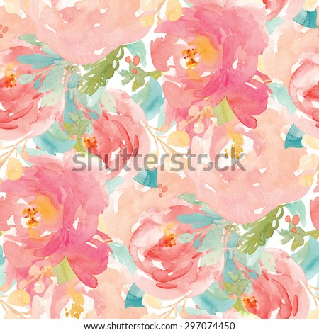 Repeating Pink Watercolor Floral Pattern. Tropical Flower Pattern. Floral Background Pattern - stock photo