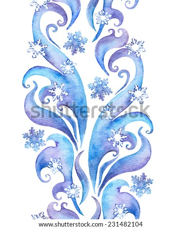 Repeating winter border frame with snow flakes. Water color decorative strip with scrolls, curves and snow - stock photo