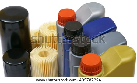 Replacement Engine oil and oil filter car - stock photo