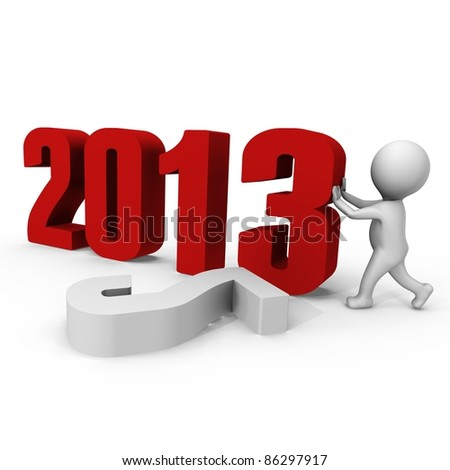 Replacing numbers to form new year 2013 - a 3d image - stock photo