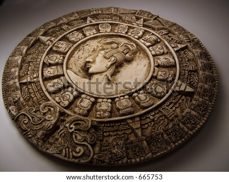 Replica Mayan Calendar - stock photo
