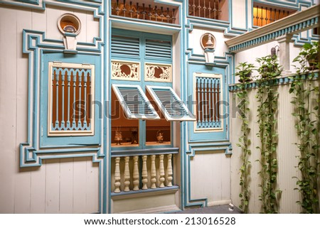 Replica of a 19th century home facade, at a National Park in Guayaquil, Ecuador - stock photo