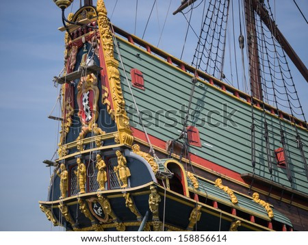 Replica of Batavia, the Dutch East Indies Company historic cargo ship - stock photo
