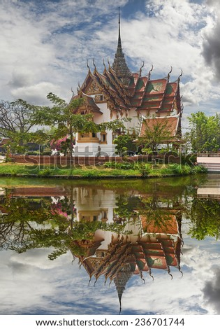 Replica of Dusit Maha Prasat Palace, Ancient Siam (formerly known as Ancient City) is a park constructed under the patronage of Lek Viriyaphant and spreading over 200 acres in the shape of Thailand. - stock photo