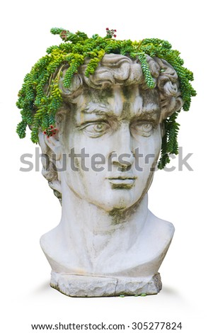 Replica of Michelangeloâ??s Classic Roman God David Bust With Plant Headdress - stock photo