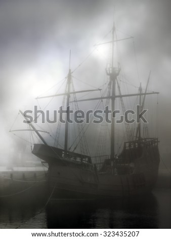 Replica of old discoveries caravel in the middle of fog. Used digital filters.