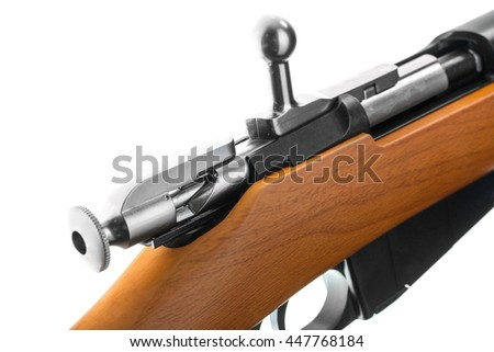 replica Russian rifles of the first and second world war at angles on a white background