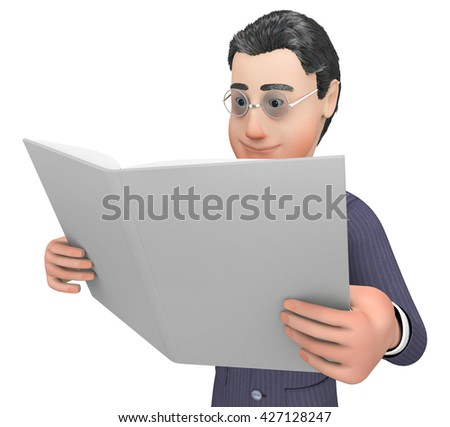 Report Character Showing Business Person And Render 3d Rendering