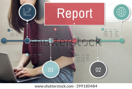 Report Research News Article Resulting Information Concept - stock photo