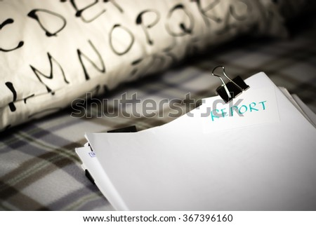 Report; Stack of Documents. Working or Studying at Bedroom. - stock photo