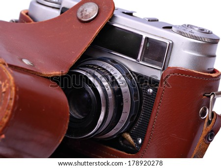 reporter's camera in a leather case. Retro style. Isolated. - stock photo