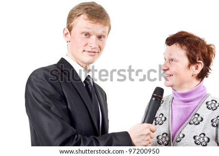 reporter takes the comment from woman isolated on a white background - stock photo