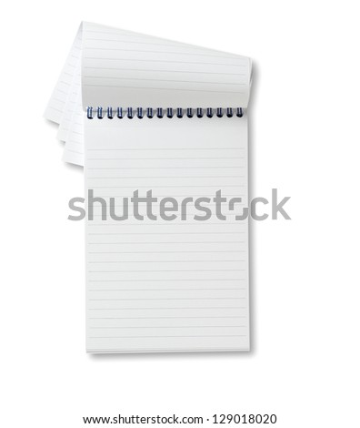 reporters blank  notebook ready for copy, copyspace with clipping path - stock photo