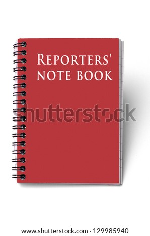 Reporters notebook; red cover; isolated on white ground - stock photo