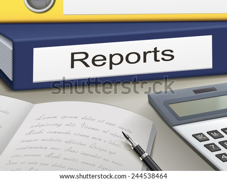 reports binders isolated on the office table - stock photo