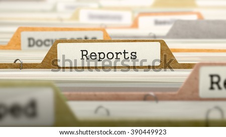 Reports Concept on File Label in Multicolor Card Index. Closeup View. Selective Focus. 3D Render.