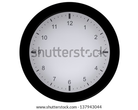 Representation of a clock isolated on a white background, without needles, allowing the user to draw them himself where he wants - stock photo