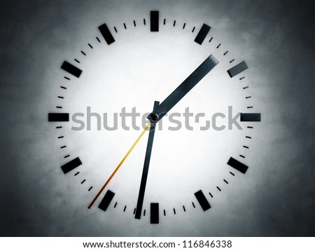 Representation of a clock, referring to notions such as time, progression, precision, quickness, project management, as well as deadlines and countdown - stock photo