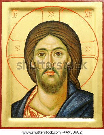 Representation of Jesus Christ face on wooden icon with gilding