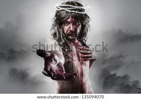representation of the resurrection of Jesus Christ. Calvary and religion concept - stock photo