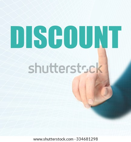 Representation of the word discounts - stock photo