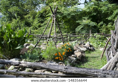 Reproduction of a garden as grown during Colonial days, Fort Montgomery State Park, New York. - stock photo