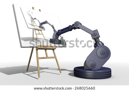 Reproduction of art by a robot - stock photo