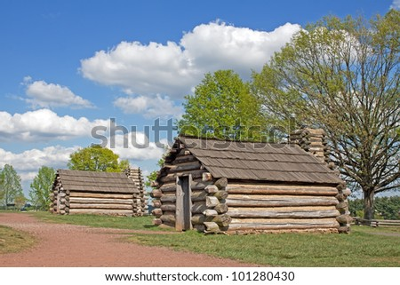 Reproductions of cabins used by Revolutionary War soldiers during the winter of 1777-78 under the command of George Washington. Located in Valley Forge National Historical Park, Pennsylvania, USA
