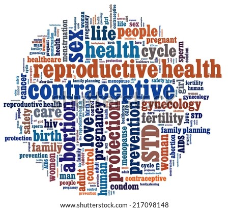 Reproductive Health in word collage - stock photo