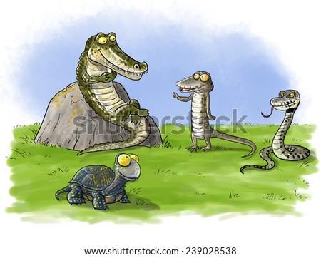 Funny Cartoon Turtle Print Stock Vector 349612286 ... - photo#48