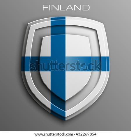 Republic Finland Flag Shield icon, Republic Finland Flag Shield logo, Republic Finland Flag Shield icon, Republic Finland Flag Shield logo, Republic Finland Flag Shield icon, Republic Finland Flag tag - stock photo
