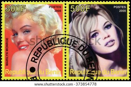 REPUBLIC OF BENIN - CIRCA 2008: a stamp printed in Republic of Benin shows Marilyn Monroe and Brigitte Bardot - stock photo
