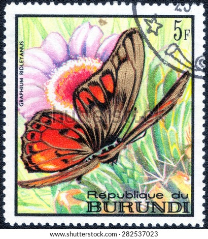 "REPUBLIC OF BURUNDI - CIRCA 1968: A stamp printed in Burundi shows a series of images ""Tropical Butterflies"", circa 1968"