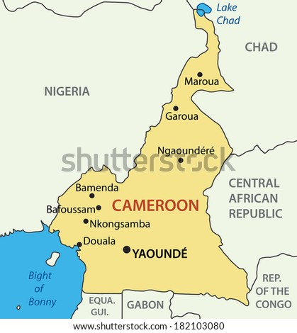 Republic of Cameroon - map - stock photo
