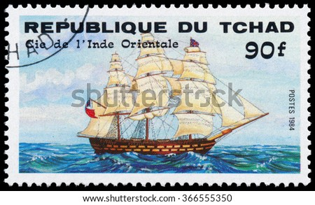 REPUBLIC OF CHAD - CIRCA 1984: a stamp printed in Republic of Chad shows the ship British East Indiaman - stock photo