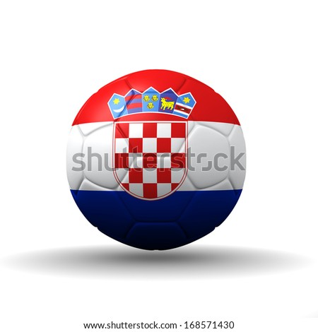 Republic of Croatia flag textured on soccer ball , clipping path included - stock photo