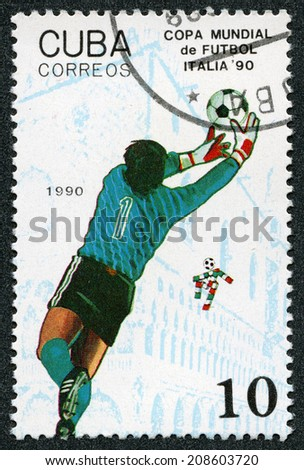 "Republic of Cuba - CIRCA 1990: A stamp printed in Republic of Cuba ""Copa Mundial de F�ºtbol de 1990"" - 14th FIFA World Cup in Italy at 1990 - stock photo"