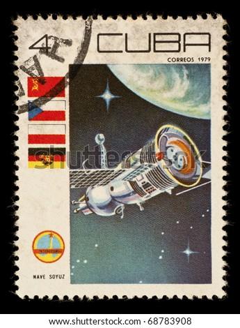 REPUBLIC OF CUBA - CIRCA 1979: A vintage postal stamp printed in Cuba, depicting a space satellite named Nave Soyuz in orbit circa 1979 - stock photo