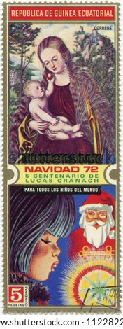 REPUBLIC OF GINEA-CIRCA 1971: Madonna with Jesus child on postage stamp, circa 1971