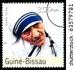 REPUBLIC OF GUINEA-BISSAU - CIRCA 2000: A postage stamp printed in the Republic of Guinea-Bissau showing Mother Teresa, circa 2000 - stock photo