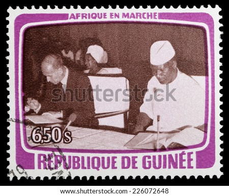 Republic of Guinea - CIRCA 1979: A stamp printed in Republic of Guinea shows French President Valery Giscard d'Estaing and Sekou Toure, circa 1979