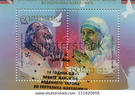 REPUBLIC OF MACEDONIA - CIRCA 2006: postage stamp printed in Macedonia showing an image of Pope John Paul II and Mother Teresa,  circa 2006. - stock photo