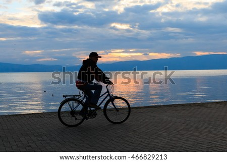 Republic of Macedonia, Ohrid and Lake Ohrid is both a UNESCO World Heritage Cultural and Natural site. Bicycling the board walk.  2015-09-22