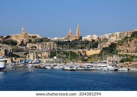 Republic of Malta, the picturesque Mgarr harbour in Gozo - stock photo