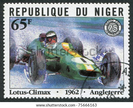 REPUBLIC OF NIGER-CIRCA 1981: Postage stamps printed in the Republic of Niger, dedicated to the 75th anniversary of the Grand Prix of France, shows Lotus-Climax, Angleterre, circa 1981 - stock photo