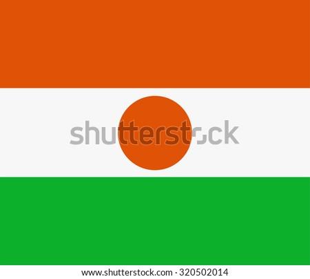 Republic of niger flag raster illustration. Rectangular national flag of  niger. Nigerian flag high detailed - stock photo