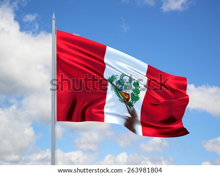 Republic of Peru 3d flag floating in the wind with a blue sky in the background - stock photo