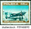 REPUBLIC OF POLAND - CIRCA 1988: a stamp printed by Republic of Poland, shows black warplanes, circa 1988 - stock photo