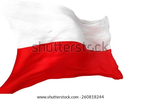Republic of Poland National Flag 3D Render Illustration Isolated on White.