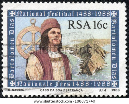REPUBLIC OF SOUTH AFRICA - CIRCA 1988: A stamp printed in Republic of South Africa shows a man, circa 1988